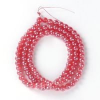 108 Watermelon Red Round Glass Beads About 8mm Dia, Hole: Approx 1.5mm